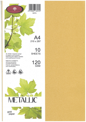 Image of Paper Metallic 120gsm A4 Gold 10 Pack