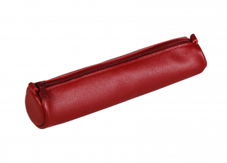 Image of Pencil Case Leather Small Round Red