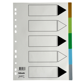 Image of Subject Dividers Esselte Polyprop A4 5 Tab Coloured