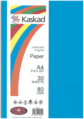 Image of Coloured Paper Kaskad Assorted Brights A4 30s 80gsm