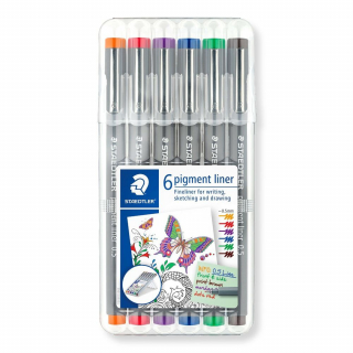 Image of Pen Staedtler Pigment Liner 0.5mm Assorted 6 Pack