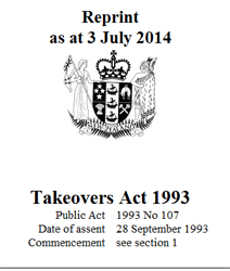 Image of Takeovers Act 1993 Reprint As At 1 December 2014