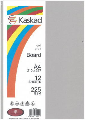Image of Board Kaskad Owl Grey A4 225gsm 12 Sheets