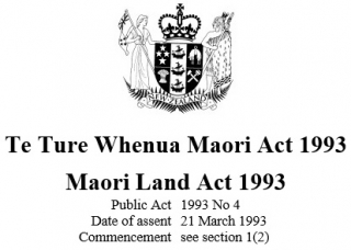 Image of Te Ture Whenua Maori Land Act 1993 Reprint As At 30 April 2016