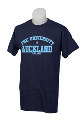 Image of Auckland Varsity Navy Tee With Blue Logo Xs
