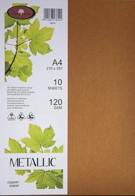 Image of Paper Metallic 120gsm A4 Copper 10 Pack