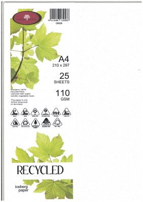 Image of Recycled Paper A4 110gsm Iceberg 25 Pack