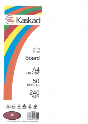 Image of Board Kaskad White Linen A4 240gsm 50 Sheets