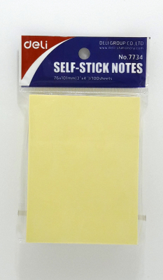 Image of Post It Notes Deli Self Stick Yellow 51x76mm 100 Sheets