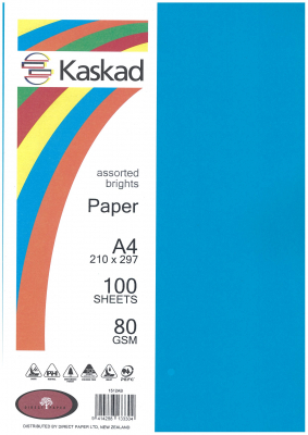 Image of Coloured Paper Kaskad Assorted Brights 80gsm 100 Pack