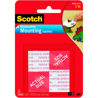 Image of Mounting Squares Scotch Removable 16 Pack