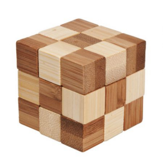 Image of Wood : Cube Two Coloured Light / Dark Puzzle