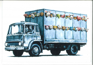 Banksy Meat Truck : Greeting Card