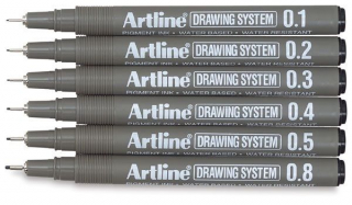 Image of Pen Artline Drawing System 6 Pack Black