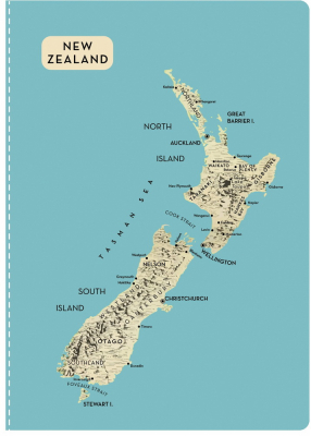Image of Nz Map Notebook Aqua