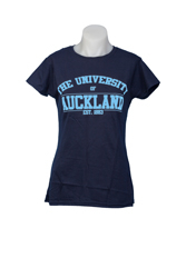 Image of Auckland Varsity Women's Navy Tee With Blue Logo Small