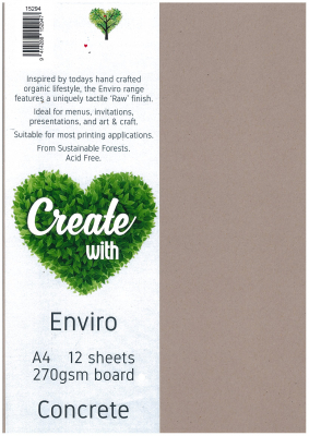 Image of Board Direct Paper Enviro Concrete A4 270gsm 12 Pack