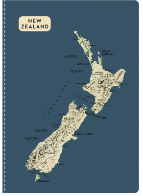 Image of Nz Map Notebook Grey