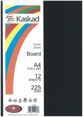 Image of Board Kaskad Raven Black A4 225gsm 12 Sheets