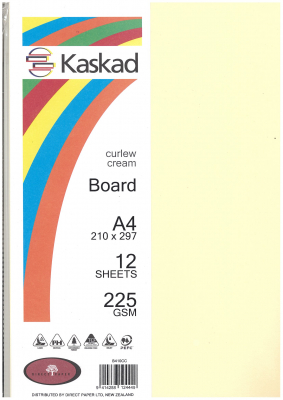 Image of Board Kaskad Curlew Cream A4 225gsm 12 Sheets