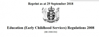 Education Early Childhood Services Regulations 2008 : Reprint As At 29 September 2018