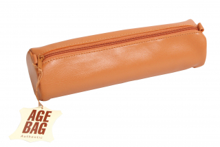 Image of Pencil Case Leather Large Round Tan