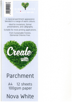 Image of Coloured Paper A4 Parchment 100gsm Nova White 12 Pack