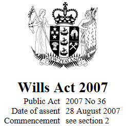 Wills Act 2007 Reprint As At 1 March 2017