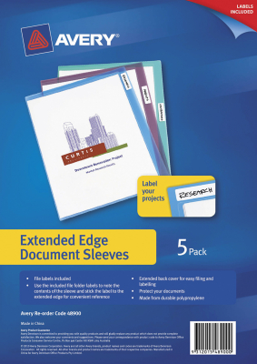 Image of File L Shaped Pocket Avery Extended Edge 5 Pack