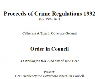 Proceeds Of Crime Regulations 1992 Reprint As At 1 July 2013