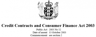 Credit Contracts And Consumer Finance Act 2003 : Reprint As At 1 March 2017