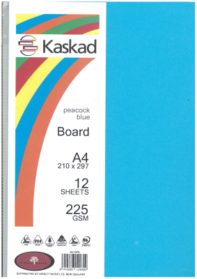 Image of Board Kaskad Peacock Blue A4 225gsm 12 Sheets